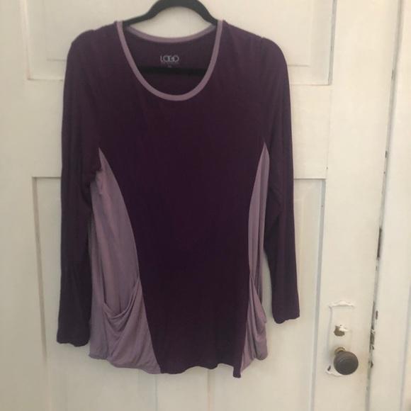 LOGO Medium Purple Color Block Tunic Pockets